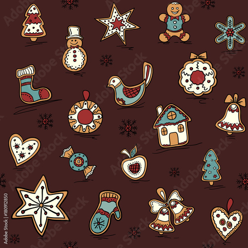 Cotton fabric Christmas seamless pattern with Gingerbreads. Holiday pattern with Christmas icons. Holiday background.