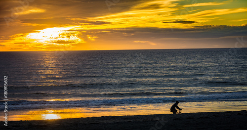 Foto op Canvas Zee zonsondergang Carlsbad State Beach sunset