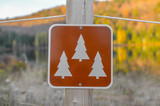 Sign in Mont Tremblant National Park in fall, Canada