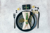 Holiday table setting. Christmas or New Year concept - 180927857
