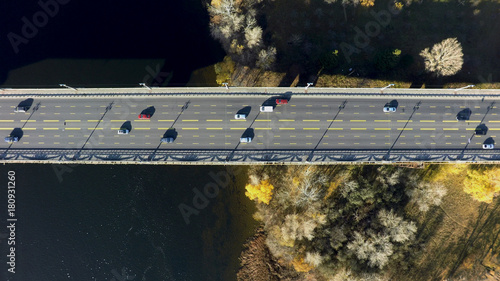 Sticker aerial view of Paton bridge in Kiev, Ukraine