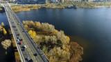 aerial view of Paton bridge in Kiev, Ukraine
