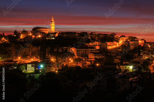 Poster Croatian coast town Vrsar at dawn