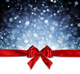 Red Ribbon With Shiny Blue Background - Christmas Card - 180934651