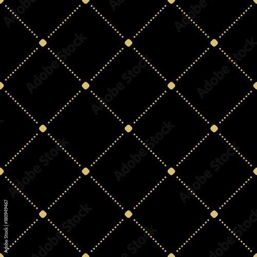 Geometric black and golden dotted pattern. Seamless abstract modern texture for wallpapers and backgrounds - 180949467