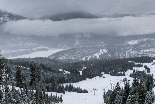 Fotobehang Donkergrijs Snowy landscape of Whistler Canada