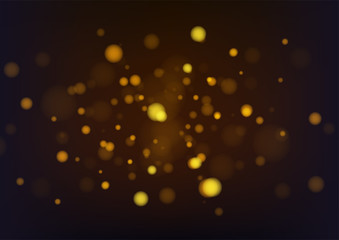 Gold abstract bokeh background. Vector illustration