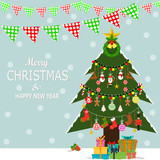 Christmas  Christmas Tree   Christmas Elements And Snow Greeting Card Poster Or Banner Wall Sticker