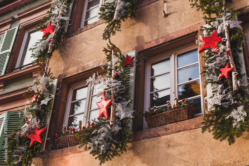 Fototapeta exterior christmas decoration on the building in Europe