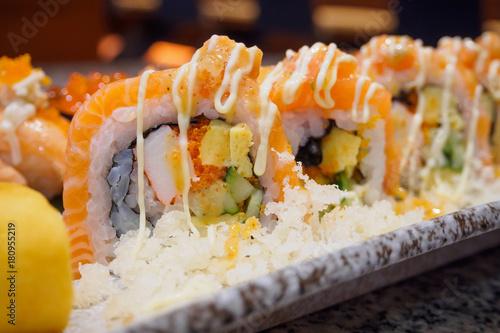 Aluminium Sushi bar Sushi sashimi and sushi rolls set