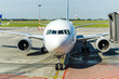 Frederic Chopin International Airport, Warsaw. Passenger airplane on the runway