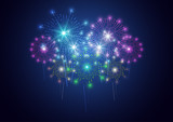 Firework on dark background for celebration, party, and new year event. Vector illustration - 180956082