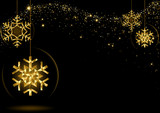Gold Glowing Christmas Snowflakes over Black Space with Starry Wave - Abstract Illustration, Vector