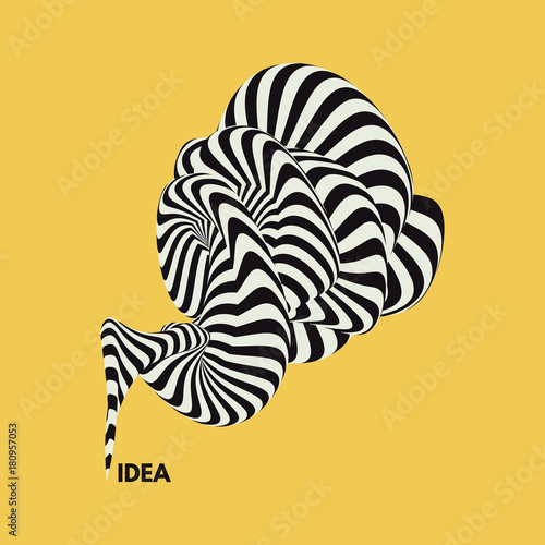 Fototapeta Idea. Abstract striped background. Optical illusion. 3D vector illustration.