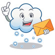 With envelope snow cloud character cartoon