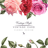 Greeting card with roses and Lilac, watercolor, can be used as invitation card for wedding, birthday and other holiday and  summer background. - 180965471