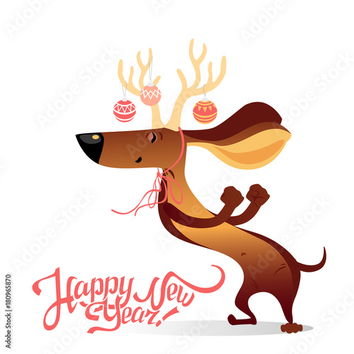 New Year\'s card with funny dancing dog | Buy Photos | AP Images ...