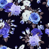 Seamless floral pattern with roses, watercolor. - 180966058