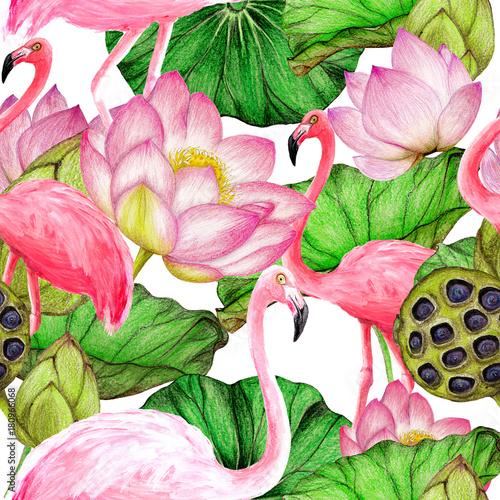 Seamless pattern of watercolor flamingos - 180966068