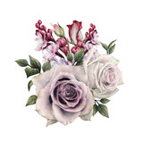Bouquet of roses, watercolor, can be used as greeting card, invitation card for wedding, birthday and other holiday and  summer background. - 180966669