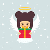 cartoon christmas angel with gift
