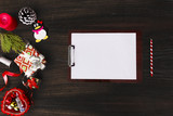 notes to do list Christmas composition. Christmas gift, pine cones, fir branches on wooden white background. Flat lay, top view - 180967256