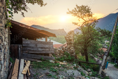Staande foto Cappuccino Rustic landscape somewhere in mountains during sunset