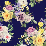 Seamless floral pattern with roses, watercolor. - 180969800