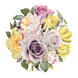 Bouquet of flowers, watercolor, can be used as greeting card, invitation card for wedding, birthday and other holiday and  summer background. - 180971805