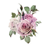 Bouquet of flowers, watercolor, can be used as greeting card, invitation card for wedding, birthday and other holiday and  summer background. - 180971866