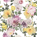 Seamless floral pattern with roses, watercolor. - 180972024