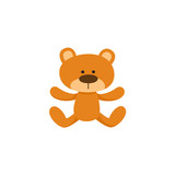 Lovely brown teddy bear toy, symbol, icon, cartoon vector illustration isolated on white background. Plush teddy bear toy, stuffed animal, traditional sleeping companion