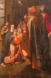 AVILA, SPAIN, APRIL - 18, 2016: The Adoration of the Magi painting on the wood in Catedral de Cristo Salvador  by unknown artis of 16. cent. - 180981616