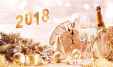 2018 festive gold background with champagne - 180982421