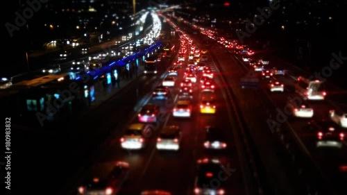 Foto op Aluminium Nacht snelweg Traffic Time Lapse Intensive Traffic in the streets of istanbul. Includes Taksim Square way bosphorus bridge way. serail 3
