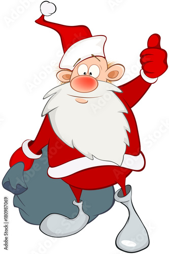 Papiers peints Chambre bébé Cartoon Illustration of a Cute Santa Claus and a Sack Full of Gifts. Cartoon Character