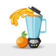 orange juice and blender icon over white background colorful design vector illustration