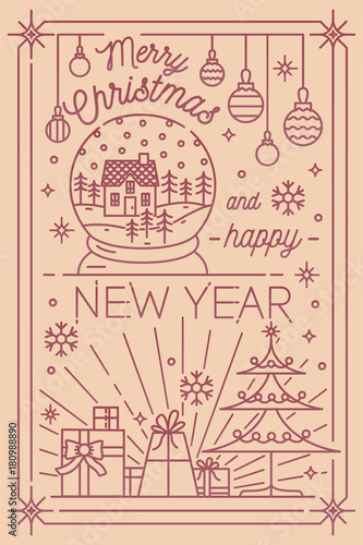 merry christmas and happy new year postcard template with holiday winter decorations drawn in line art