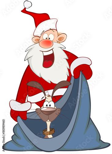 Papiers peints Chambre bébé Cartoon Illustration of a Cute Santa Claus and a Cute Dog. Cartoon Character