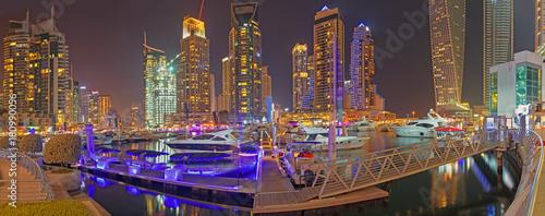 DUBAI, UAE - MARCH 22, 2017: The evening of Marina promenade.