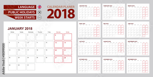 Wall calendar planner 2018 in English, week starts in Monday.