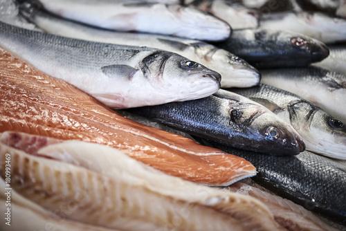 Fototapeta fresh fish in a fishshop