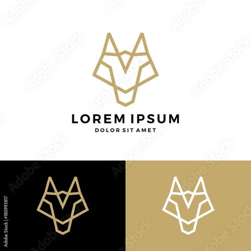 Fototapeta wolf line logo vector