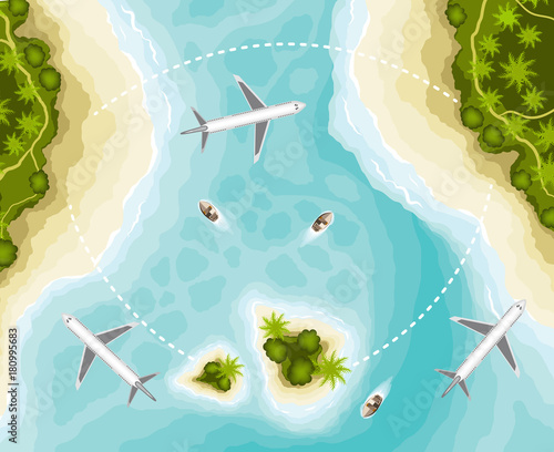 The islands and planes, top view
