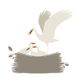 Cute nest of storks isolated on white background. Vector Illustration