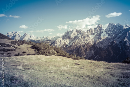 Foto op Canvas Blauwe jeans The summit of Cristallo Dolomites Italy