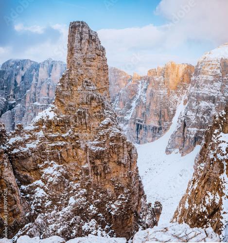 Papiers peints Cappuccino mountains Sella Ronda Dolomites Italy