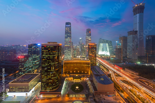 Foto op Canvas Peking High angle view of Beijing Central Business District skyscrapers building at night in Beijing ,China.