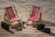deck chair on the sandy beach