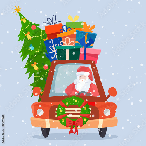 Fotobehang Auto Chrismas car with gifts, tree and decorations.